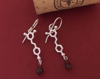 red wine - resveratrol molecule - earrings in solid sterling silver with garnet