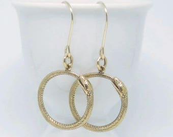 Bronze Ouroboros Hoop Earrings, Ouroboros Earrings, Snake Hoop Earrings, Snake Eating Tail Medusa Earrings, Infinity Snake Jewelry