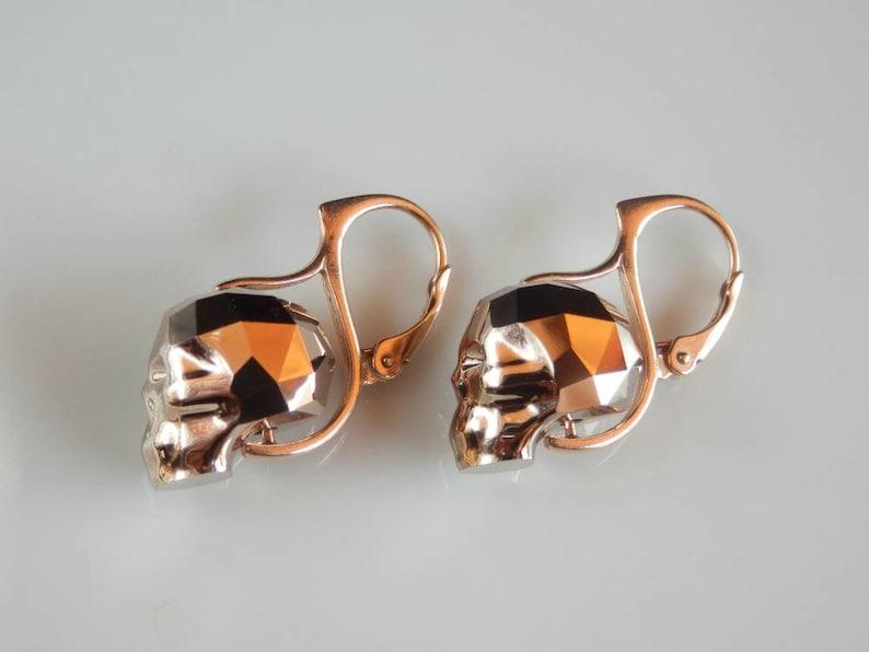 Rose Gold Skull Earrings Crystal Skull Earrings with image 0