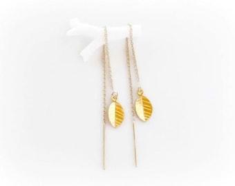 Minimalist Threader Earrings, Gold Leaf Earrings, Double Piercing Ear Threads, Modern Ear Chains
