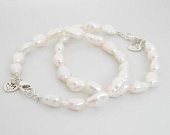 Freshwater Pearl Bracelet, Pearl Charm Bracelet, Sterling Silver Baroque Pearl Bridal Bracelet