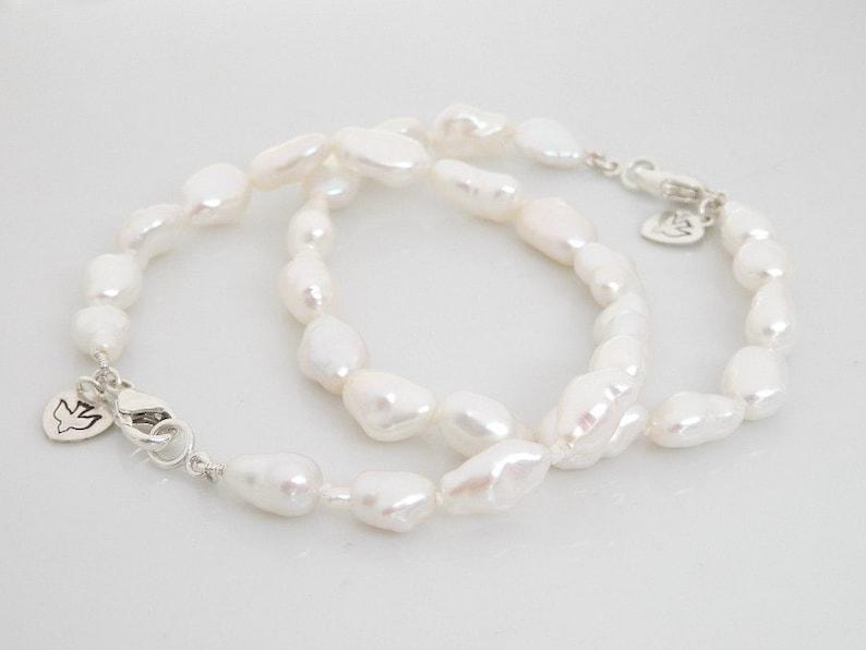 Freshwater Pearl Bracelet Pearl Charm Bracelet Sterling image 0