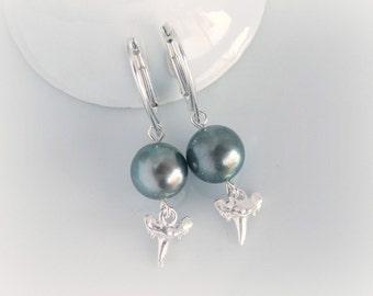 Tahitian Pearl Earrings, Black Pearl Dangle Earrings, Sterling Silver Shark Tooth Earrings, Elegant Science Geek Jewelry