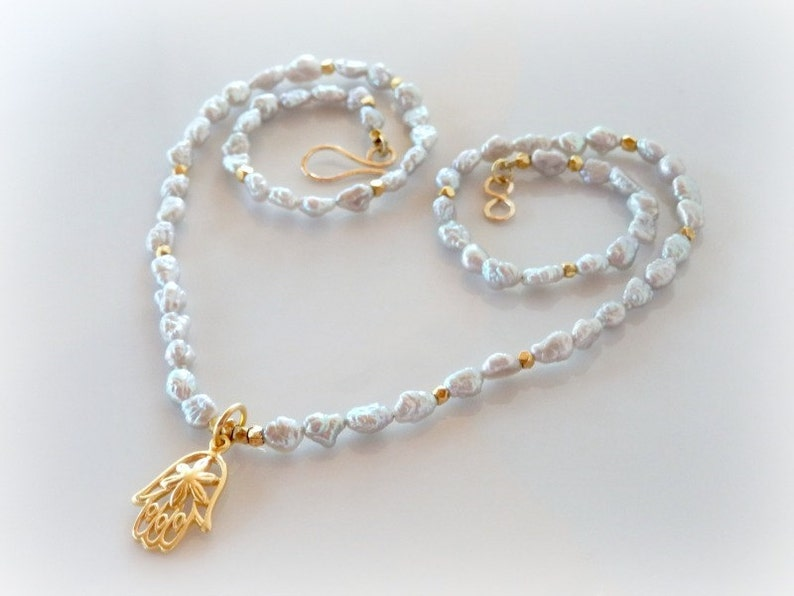 Hamsa Charm Necklace Silver Freshwater Pearl Necklace Hand image 0