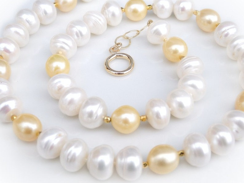 Large Pearl Necklace Yellow Freshwater Pearl Drop Necklace image 0