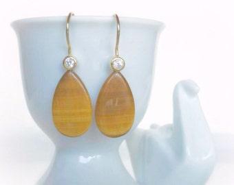 Tiger Eye Dangle Earrings, Natural Gemstone Teardrops, Gold Drop Earrings, Natural Stone Earrings, Geology Jewelry