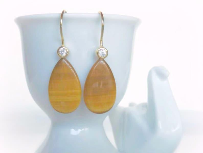 Tiger Eye Dangle Earrings Natural Gemstone Teardrops Gold image 0