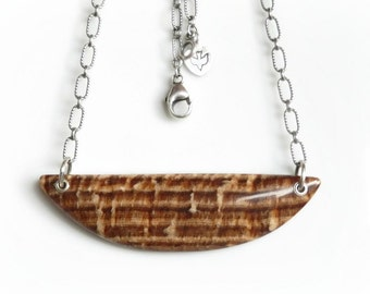 Petrified Wood Necklace, Large Wood Grain Fossil Pendant, Oxidized Sterling Silver Chain Necklace, Geology Jewelry
