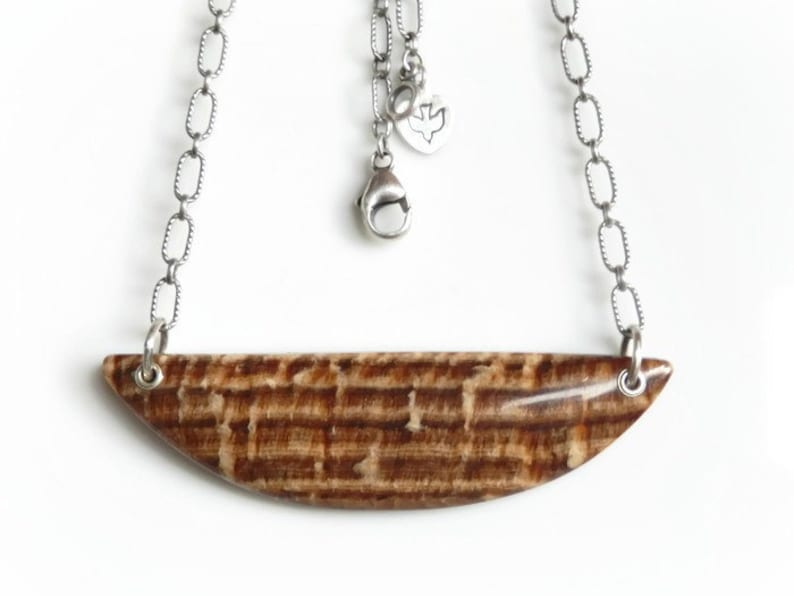 Petrified Wood Necklace Large Wood Grain Fossil Pendant image 0