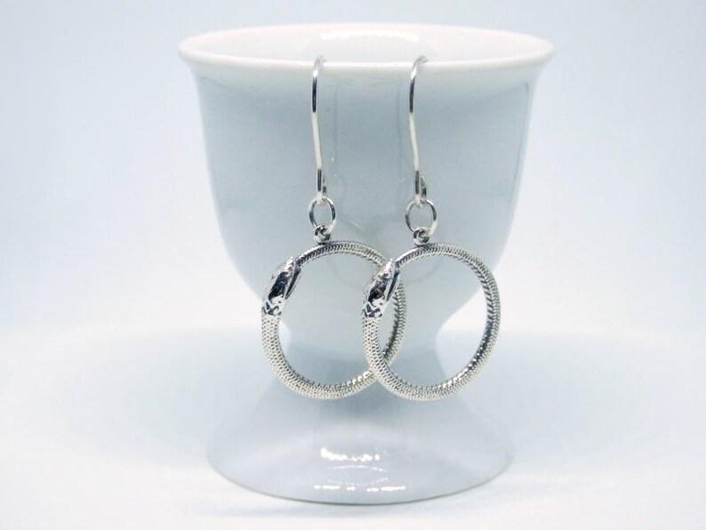 Sterling Silver Ouroboros Earrings Snake Hoop Earrings image 0