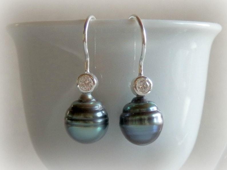 Blue Baroque Pearl Drop Earrings Tahitian Black Pearl image 0