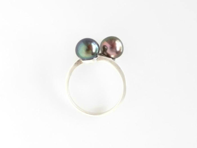 Double Pearl Ring Sterling Silver Black Pearl Jewelry June image 0