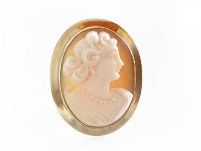 Vintage Cameo Pendant Brooch Antique Shell Cameo Victorian image 0