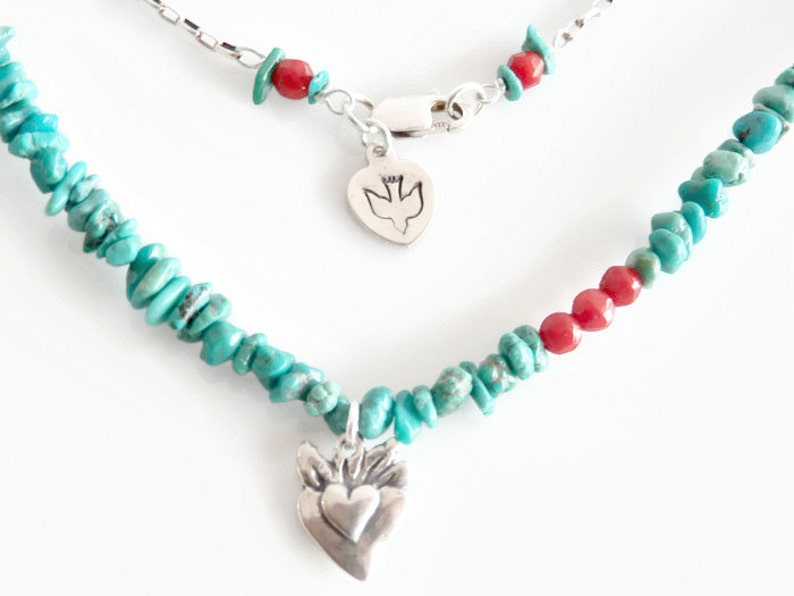 Natural Turquoise Nugget Necklace Sterling Silver image 0