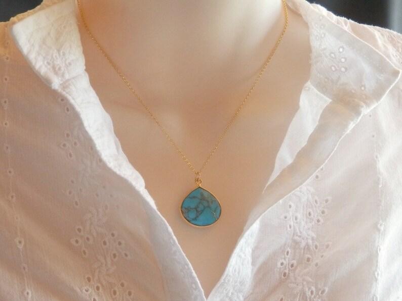 Turquoise Drop Necklace Large Blue Turquoise Drop Pendant image 0