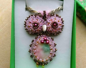 Hot Pink Beadwoven Owl Pendant, Mixed media, Cherry Flower Beadwoven Bird, Lilac Purple Faceted Crystal Gemstone- Cute Owl by enchantedbeads