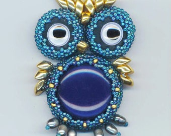 Beaded/ Beadwoven Owl Pendant .  Blue Lucite . Galvanized Gold Magatama . Genuine Pearls . Movable Eyes - Blue Owl by enchantedbeads on Ets