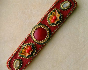 Beadwoven Beaded Holly Cuff/Bracelet . Christmas Holly . Inspirational Holiday Bracelet . Red & Green Bead weaving . Red Leather Open Cuff