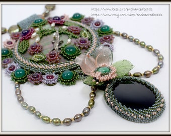 OOAK Beadwoven Necklace, Unique Pendant, Gemstones,Onyx, Amethyst, Aventurine, Pearls, Mother of Pearl, Mysterious Garden by enchantedbeads