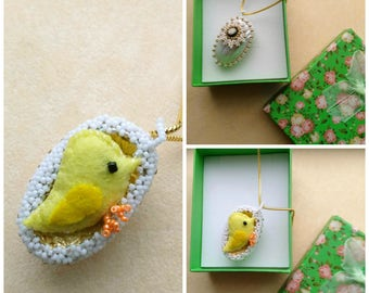 Beadwoven Easter Egg with Small Felted Chick Pendant, Mother of pearl Osmina shell, Gold Filled Snake Chain, Yellow Easter Chick Necklace