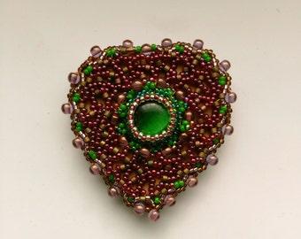 Beadwoven Heart Brooch, Burgundy garnet bright green, Beaded Heart, Mother's Day, Valentine's Day, Birthday-Romantic Heart by enchantedbeads