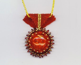 Red Glass Beadwoven Pendant . Crimson Super Duo Pendant . Valentine Jewelry . Christmas Holidays - Love & Romance by enchantedbeads on Etsy
