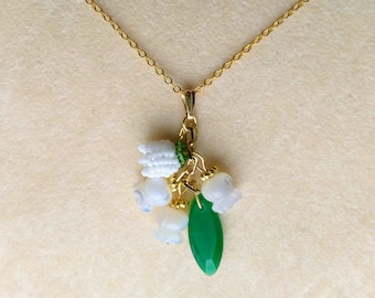 Beadwoven Lily of the Valley Pendant, Mother of Pearl White Lily of the Valley, Bridal Wedding, Anniversary - Mother's Day by enchantedbeads