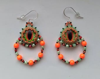 Orange, Green& Black Beadwoven/ Beaded Dragon Eye Earrings, Orange Swarovski Pearl Earrings, Sterling Silver - Dragon Eye by enchantedbeads