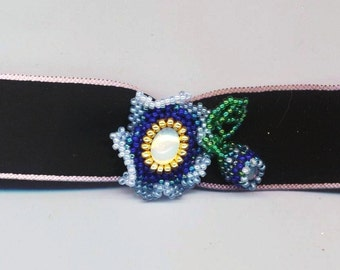 Blue Flower with Bud . Beadwoven Floral Choker Necklace . Blue Beadwork . Blue Ombre Pendant - Black Silk Choker by enchantedbeads on Etsy