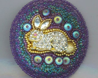 Embroidered Bunny Rabbit Brooch, Rhinestone Rabbit, Lilac, Blue Embroidery, Easter beadwoven rabbit pin, animal creature pin, rabbit Jewelry