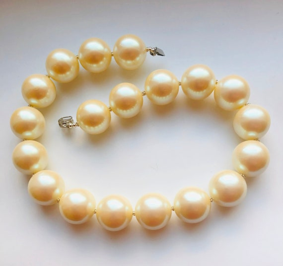 Off White Large Pearl Necklace with Huge 22mm Cream Pearls Napier Style Pearl Sterling Silver Spacer Necklace Gift for Her by enchantedbeas