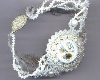 White Bridal Beadwoven Bracelet . Rivoli Stone Moonlight . Wedding Jewelry with Pearls - Bridal Statement Bracelet by enchantedbeads on Etsy
