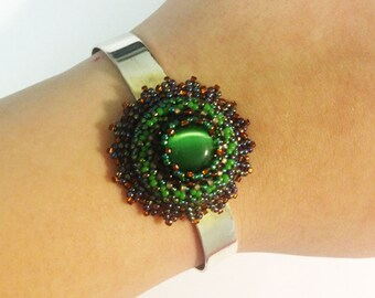Beadwoven Cat's Eye Adjustable Bracelet, Beaded Floral Cuff, Silver Plated Bangle, Adjustable Bracelet Blank, Green Cuff by enchantedbeads