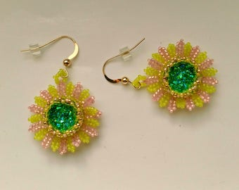 Beadwoven Chrysanthemum Green& Pink Earrings. Druzy Cabochon. Mother's Day. Gold Filed Statement Earrings - Wearable art  by enchantedbeads