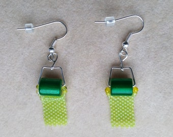 Beadwoven/Beadwork Toilet Paper Earrings, Green Earrings, Peyote&Miracle Beads, Silver Plated Ear Wire- Funny Gift for Her by enchantedbeads