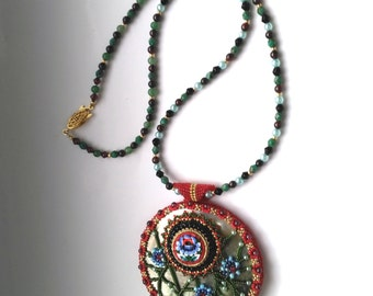 OOAK Beadwoven Necklace, Unique Mosaic Red, Blue Pendant, Beadwoven Mother of Pearl, Green Necklace, Statement Necklace January garnet stone
