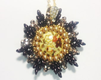 Beadwoven Super Duo Pendant . Metallic Dark Gold . Spring Flowers . Golden Floral Cabochon . Pearls- Superduo Star by enchantedbeads on Etsy