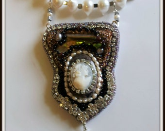 Genuine Cameo Beadwoven Necklace. Mother of Pearl, Rhinestones, Pearl Necklace. Edwardian Victorian Necklace- OOAK by enchantedbeads on Etsy