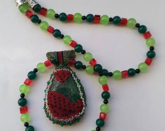 Beadwoven Watermelon Necklace,  Red Black& Green Gemstone Necklace, Valentine's, Christmas - Summer Fruit OOAK Necklace by enchantedbeads