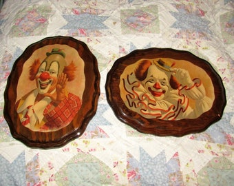 Very Vintage Prob 1960's Set of Wooden Lacquered Clown Plaques