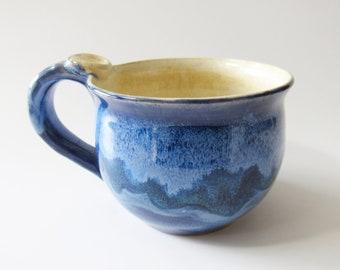 Cappuccino Coffee Cup, Blue Mug, Ready to Ship, Handmade