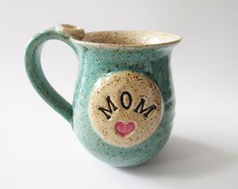 Mom mug, Personalized Mug,  Ready to Ship, Jade and oatmeal, 13 oz