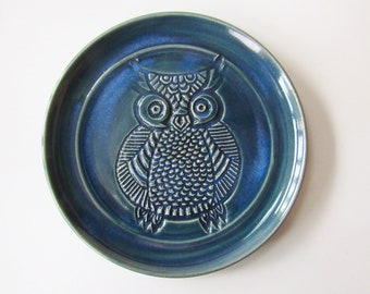 Trinket dish, Owl, Spoon Rest, Blue, Ladle Rest, Spatula Rest, wheel thrown Pottery