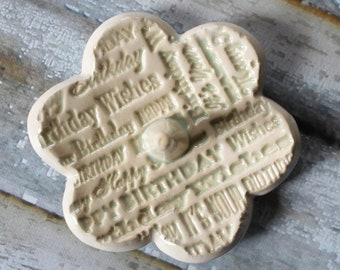 Ring Dish, stamped with Happy Birthday, in stock,  Clay Pottery Ring Holder