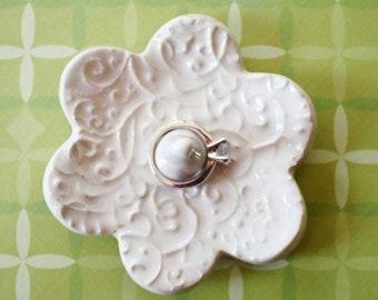 Elegant Ring Holder - White Ceramic Ring Dish - Raised Texture Ring Bowl - Glazed in Soft white - handmade