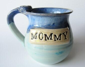 Mommy mug, Personalized Mug, Ready Made Mug, Ready to Ship, Soft Blues, 14 oz