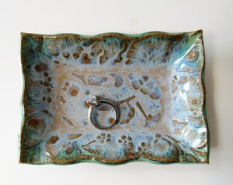 Rectangular Ring or Trinket Dish - glazed in blue, green and purple
