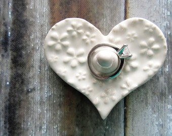 Dainty and Sweet Heart Shaped Ring Holder, Ring Dish, Ring Bowl, Soft white, Ready to ship