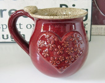 Red and Oatmeal Heart Mug, Ready to Ship, Holds 14 oz, Mug with textured heart, flowery texture