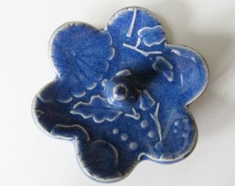 Support de bague, anneau plat, annulaire, émaillée en bleu Indigo
